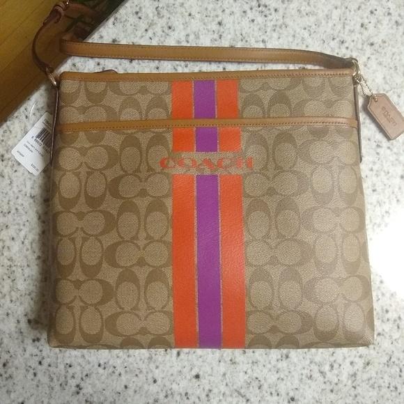 Coach Handbags - NWT COACH Signature Varsity Stripe File Bag F38402